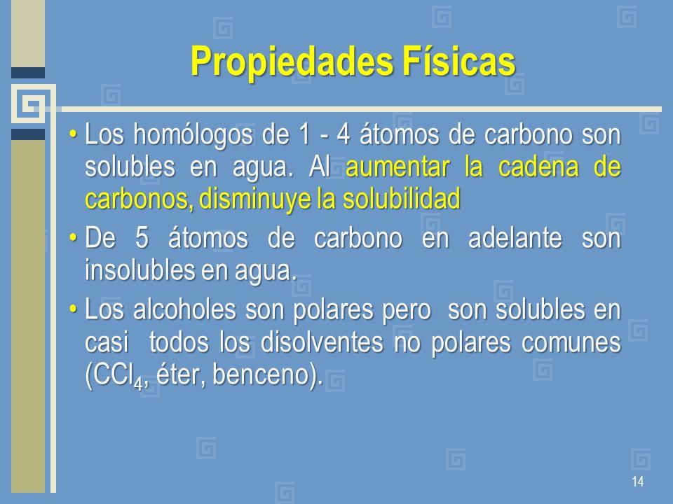 Propiedades Físicas Los homólogos de 1 - 4 átomos de carbono son solubles en agua. Al aumentar la cadena de carbonos, disminuye la solubilidadLos homó