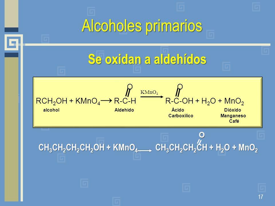 Alcoholes primarios Se oxidan a aldehídos CH 3 CH 2 CH 2 CH 2 OH + KMnO 4 CH 3 CH 2 CH 2 CH + H 2 O + MnO 2 CH 3 CH 2 CH 2 CH 2 OH + KMnO 4 CH 3 CH 2