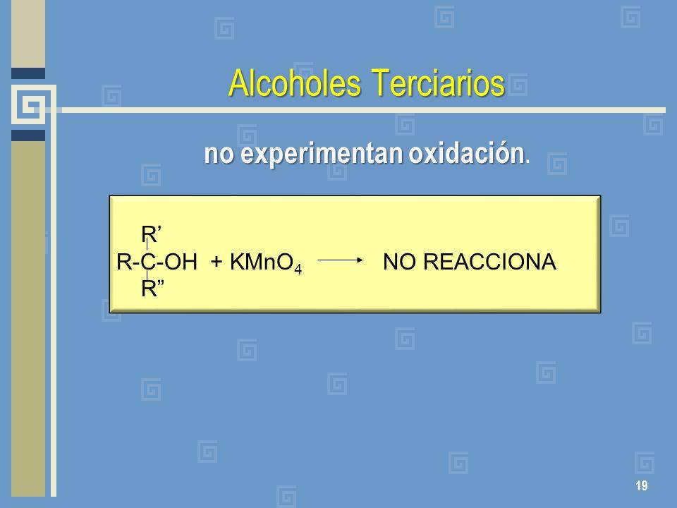 Alcoholes Terciarios no experimentan oxidación no experimentan oxidación. 19 R R-C-OH + KMnO 4 NO REACCIONA R