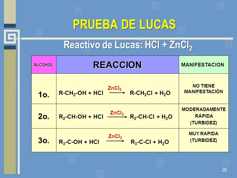 PRUEBA DE LUCAS Reactivo de Lucas: HCl + ZnCl 2 20 ALCOHOLREACCION MANIFESTACION 1o. R-CH 2 -OH + HCl R-CH 2 Cl + H 2 O NO TIENE MANIFESTACIÓN 2o. R 2