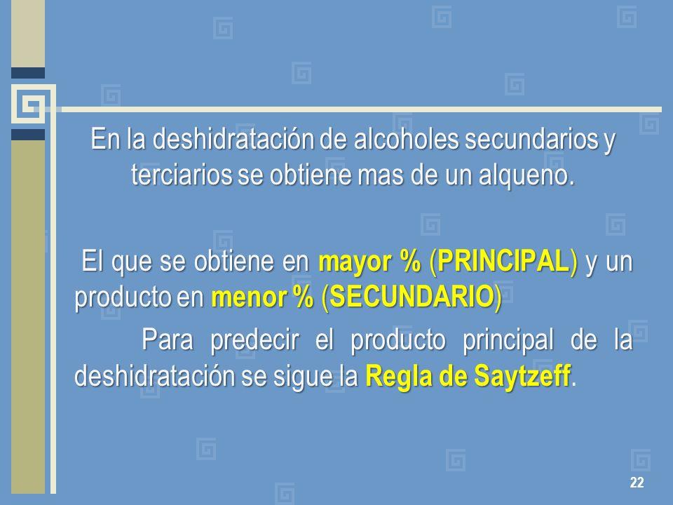 En la deshidratación de alcoholes secundarios y terciarios se obtiene mas de un alqueno. El que se obtiene en mayor % ( PRINCIPAL ) y un producto en m