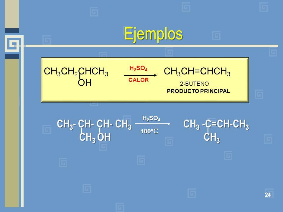 Ejemplos CH 3 - CH- CH- CH 3 CH 3 -C=CH-CH 3 CH 3 OH CH 3 CH 3 OH CH 3 24 CH 3 CH 2 CHCH 3 CH 3 CH=CHCH 3 OH 2-BUTENO PRODUCTO PRINCIPAL H 2 SO 4 CALO