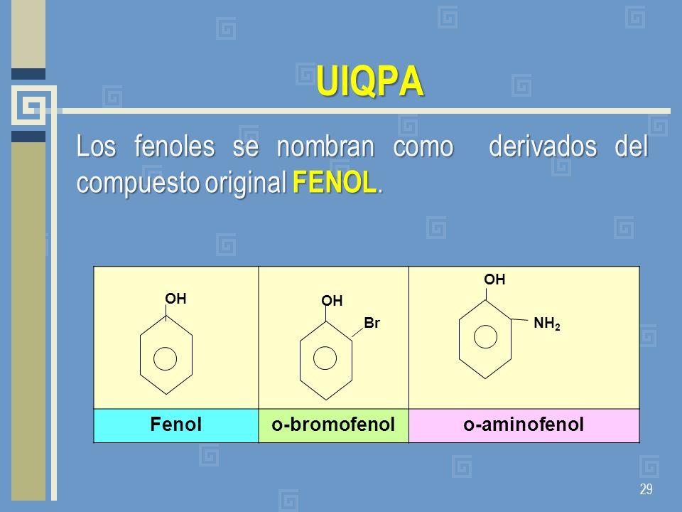 UIQPA Los fenoles se nombran como derivados del compuesto original FENOL. 29 OH OH Br OH NH 2 Fenolo-bromofenolo-aminofenol