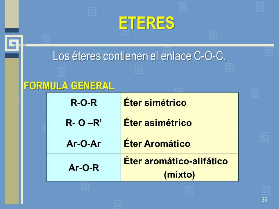 ETERES Los éteres contienen el enlace C-O-C. FORMULA GENERAL 35 R-O-RÉter simétrico R- O –RÉter asimétrico Ar-O-ArÉter Aromático Ar-O-R Éter aromático
