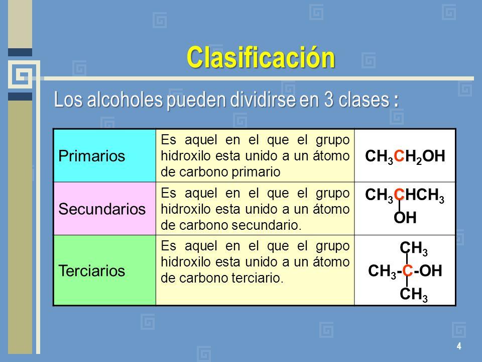 Clasificación Primarios Es aquel en el que el grupo hidroxilo esta unido a un átomo de carbono primario CH 3 CH 2 OH Secundarios Es aquel en el que el