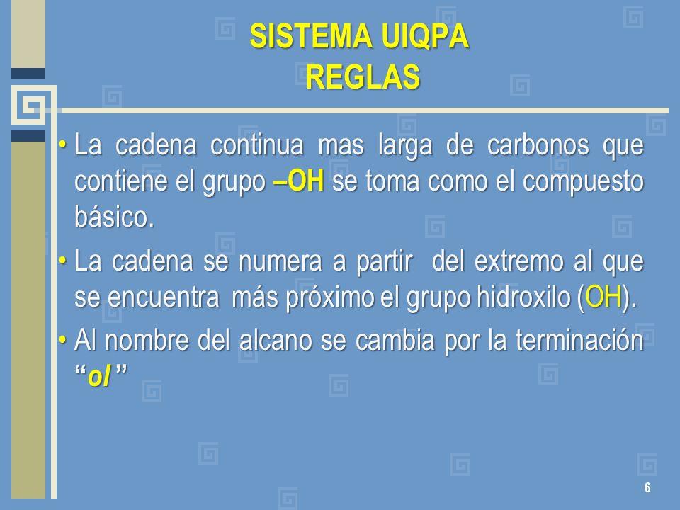 SISTEMA UIQPA REGLAS La cadena continua mas larga de carbonos que contiene el grupo –OH se toma como el compuesto básico.La cadena continua mas larga