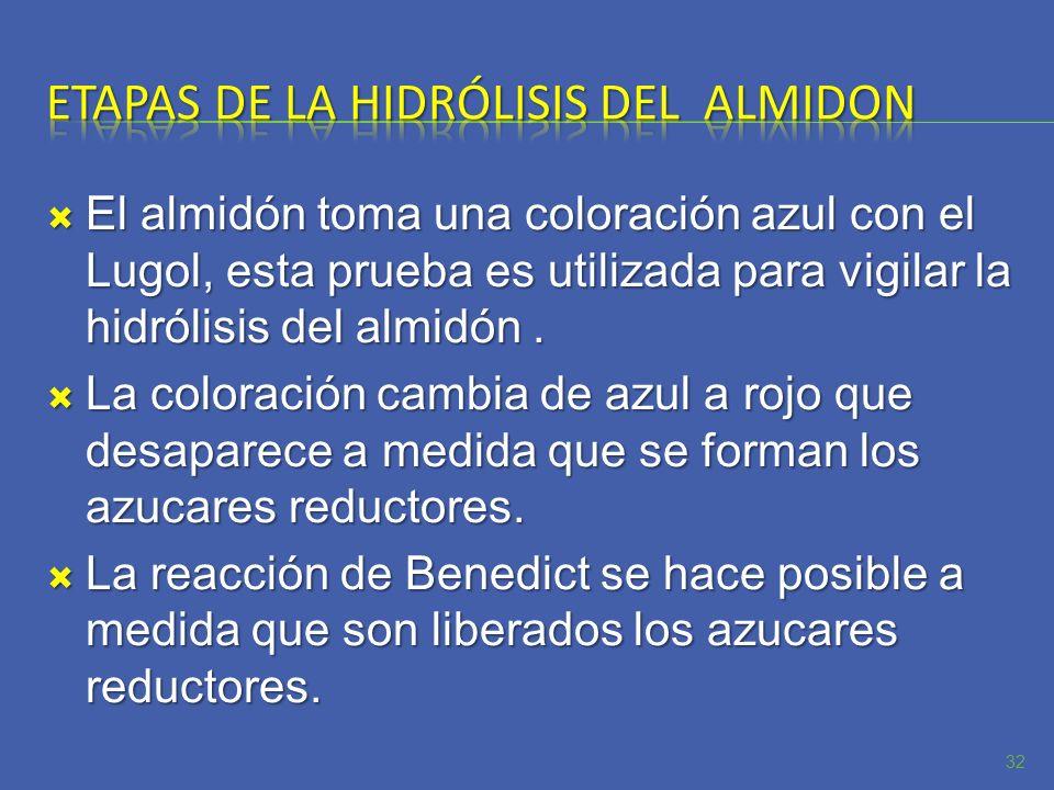 El almidón toma una coloración azul con el Lugol, esta prueba es utilizada para vigilar la hidrólisis del almidón. El almidón toma una coloración azul