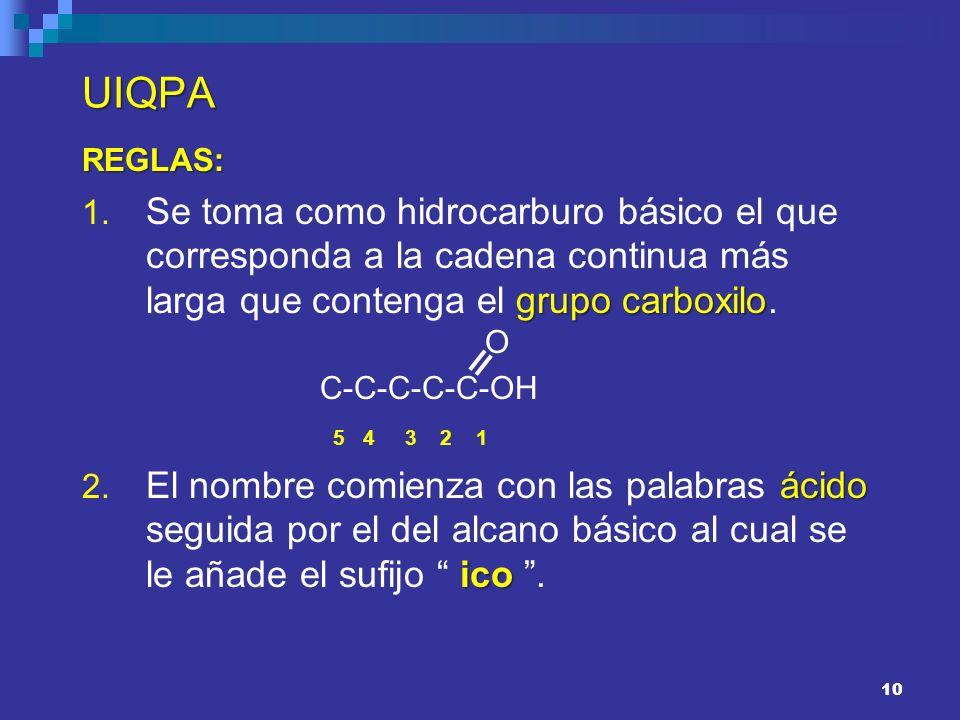 10 UIQPA REGLAS: grupo carboxilo 1. Se toma como hidrocarburo básico el que corresponda a la cadena continua más larga que contenga el grupo carboxilo