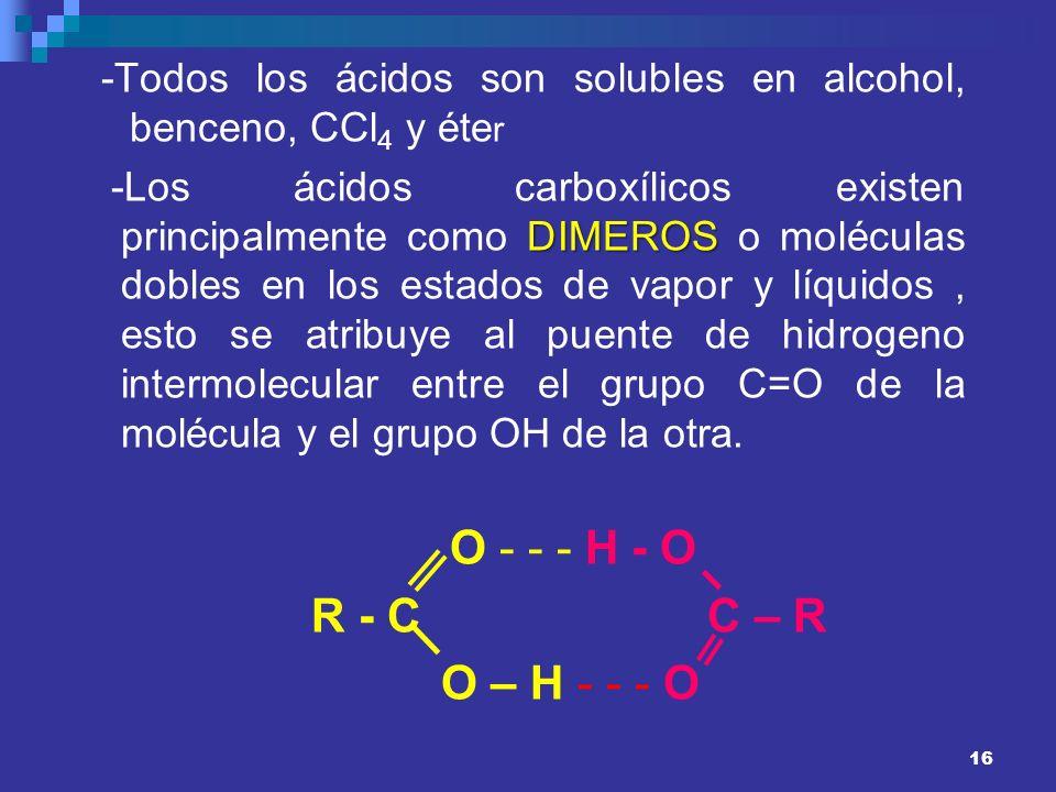 16 -Todos los ácidos son solubles en alcohol, benceno, CCl 4 y éte r DIMEROS -Los ácidos carboxílicos existen principalmente como DIMEROS o moléculas