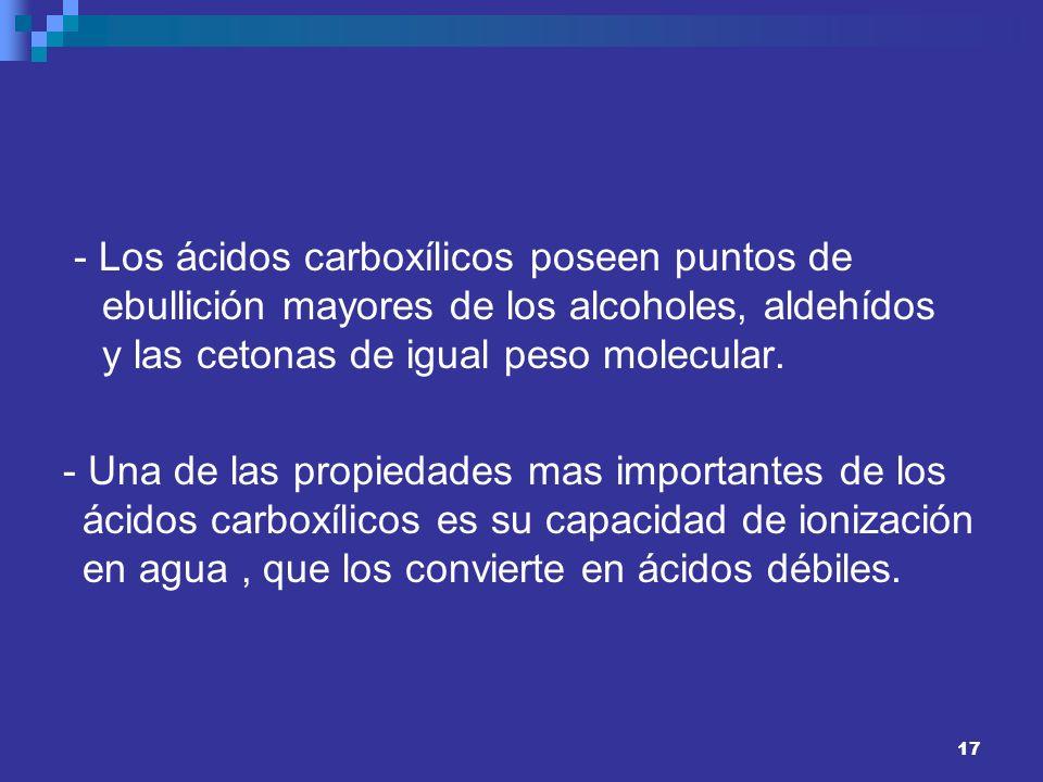 - Los ácidos carboxílicos poseen puntos de ebullición mayores de los alcoholes, aldehídos y las cetonas de igual peso molecular. - Una de las propieda