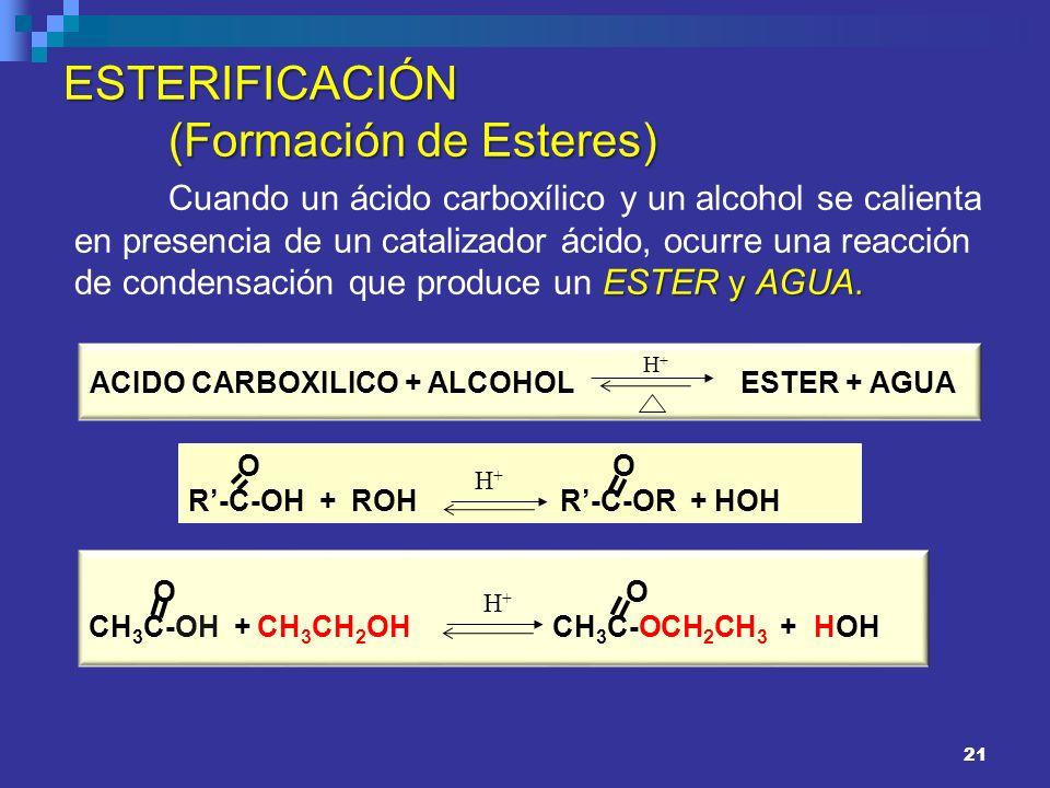 21 ESTERIFICACIÓN (Formación de Esteres) ESTER y AGUA. Cuando un ácido carboxílico y un alcohol se calienta en presencia de un catalizador ácido, ocur