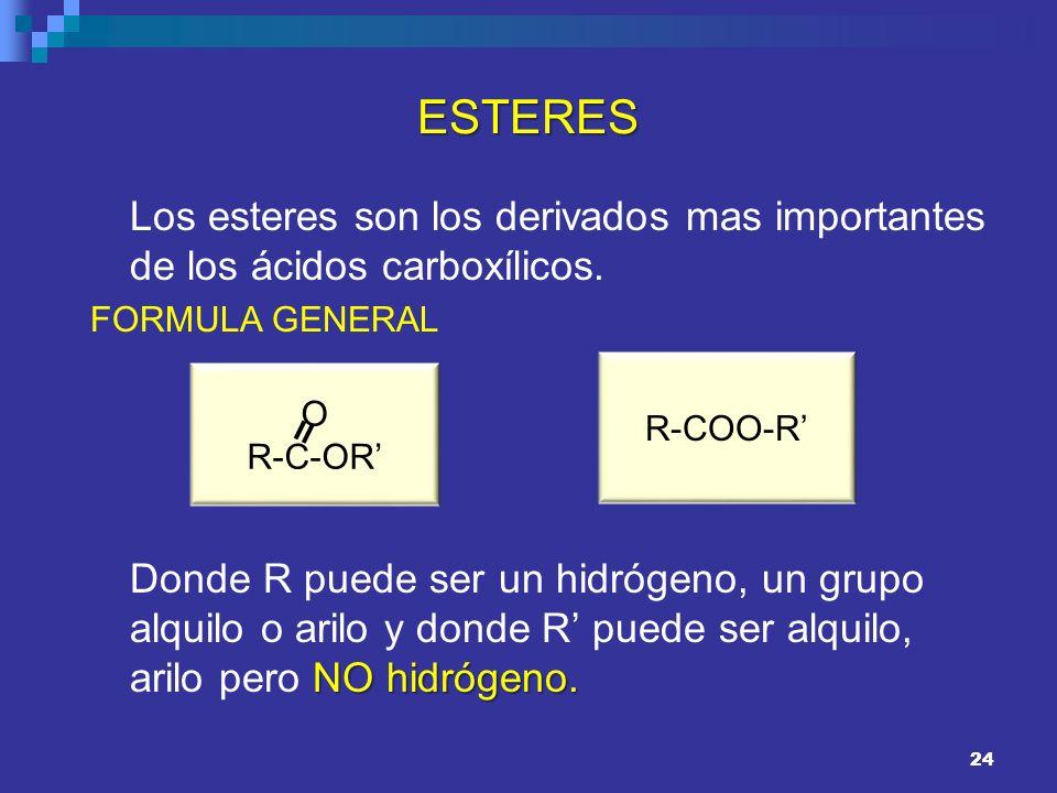 24 ESTERES Los esteres son los derivados mas importantes de los ácidos carboxílicos. FORMULA GENERAL NO hidrógeno. Donde R puede ser un hidrógeno, un