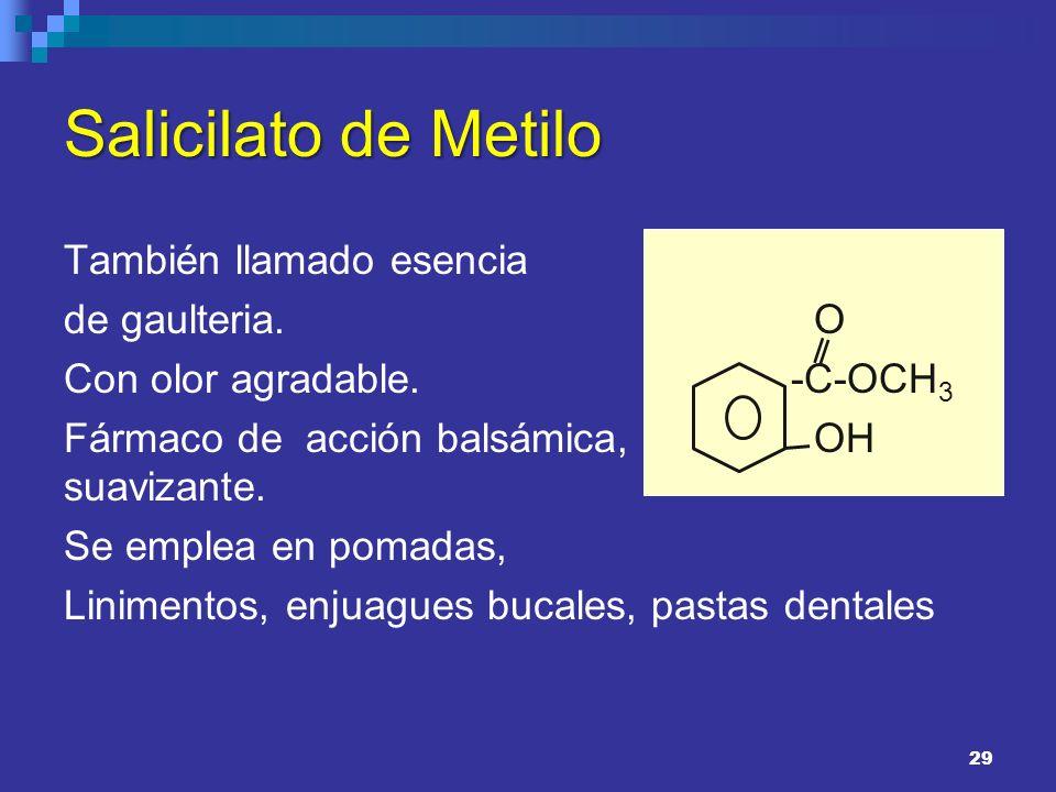 Salicilato de Metilo También llamado esencia de gaulteria. Con olor agradable. Fármaco de acción balsámica, analgésica y suavizante. Se emplea en poma