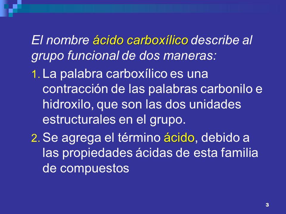 3 ácido carboxílico El nombre ácido carboxílico describe al grupo funcional de dos maneras: 1. La palabra carboxílico es una contracción de las palabr