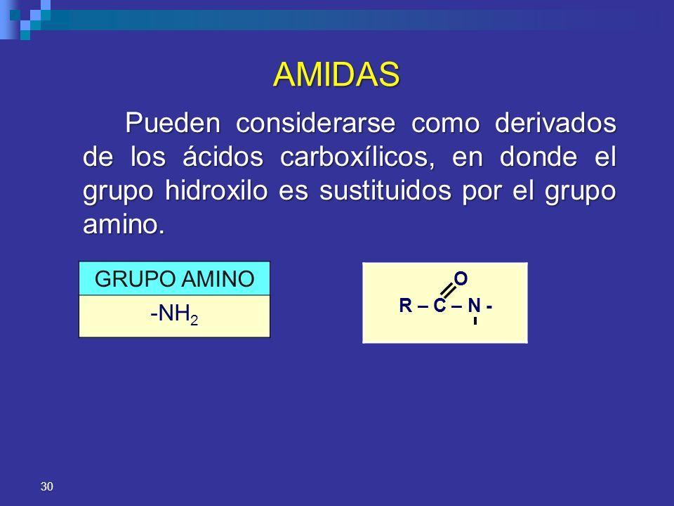 30 AMIDAS Pueden considerarse como derivados de los ácidos carboxílicos, en donde el grupo hidroxilo es sustituidos por el grupo amino. GRUPO AMINO -N
