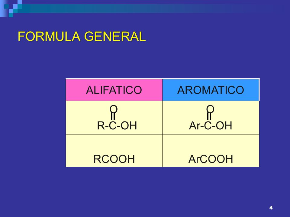 4 FORMULA GENERAL ALIFATICOAROMATICO O R-C-OH O Ar-C-OH RCOOHArCOOH