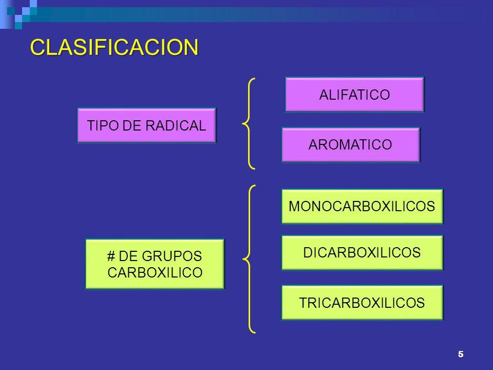 5 CLASIFICACION TIPO DE RADICAL ALIFATICO AROMATICO # DE GRUPOS CARBOXILICO TRICARBOXILICOS DICARBOXILICOS MONOCARBOXILICOS