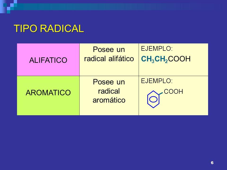 7 NÚMERO DE GRUPOS CARBOXILICOS MONOCARBOXILICOS Tienen un solo grupo carboxilo O CH 3 COH DICARBOXILICOS Tienen 2 grupos carboxílicos COOH CH 2 COOH TRICARBOXILICOS Tienen 3 grupos carboxílicos CH 2 -COOH CH –COOH CH 2 -COOH
