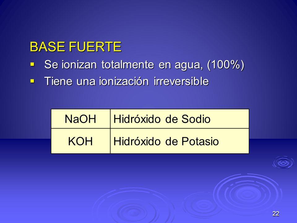 22 BASE FUERTE Se ionizan totalmente en agua, (100%) Se ionizan totalmente en agua, (100%) Tiene una ionización irreversible Tiene una ionización irre