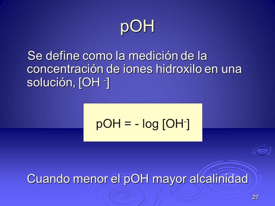 27 pOH Se define como la medición de la concentración de iones hidroxilo en una solución, [OH - ] Cuando menor el pOH mayor alcalinidad pOH = - log [O