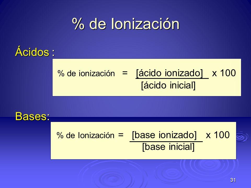 31 % de Ionización Ácidos : Bases: % de ionización = [ácido ionizado] x 100 [ácido inicial] % de Ionización = [base ionizado] x 100 [base inicial]