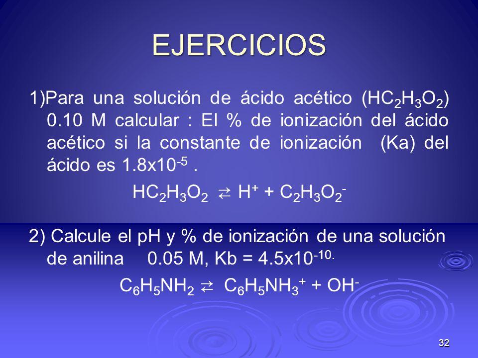 32 EJERCICIOS 1)Para una solución de ácido acético (HC 2 H 3 O 2 ) 0.10 M calcular : El % de ionización del ácido acético si la constante de ionizació