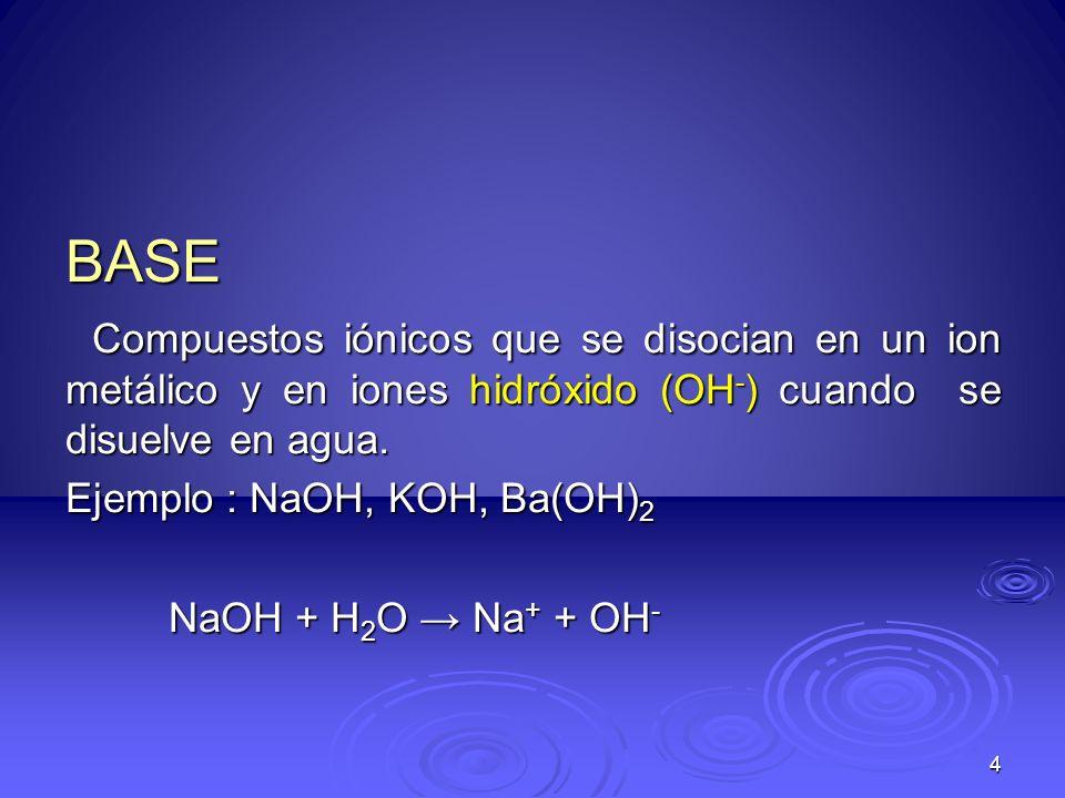 4 BASE Compuestos iónicos que se disocian en un ion metálico y en iones hidróxido (OH - ) cuando se disuelve en agua. Compuestos iónicos que se disoci