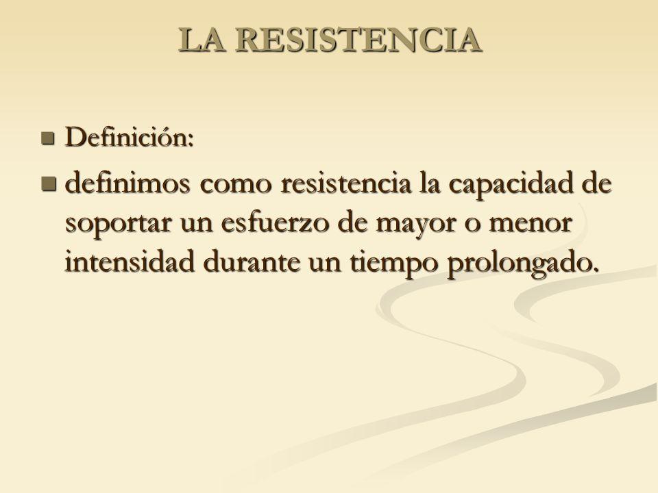 LA RESISTENCIA Definición: Definición: definimos como resistencia la capacidad de soportar un esfuerzo de mayor o menor intensidad durante un tiempo p