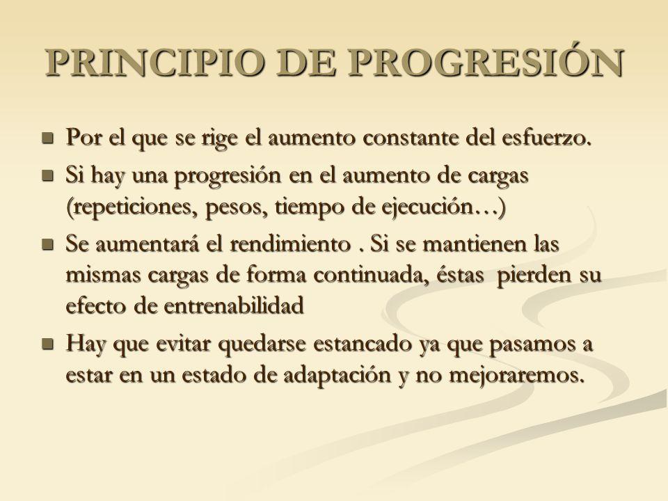 PRINCIPIO DE PROGRESIÓN Por el que se rige el aumento constante del esfuerzo. Por el que se rige el aumento constante del esfuerzo. Si hay una progres