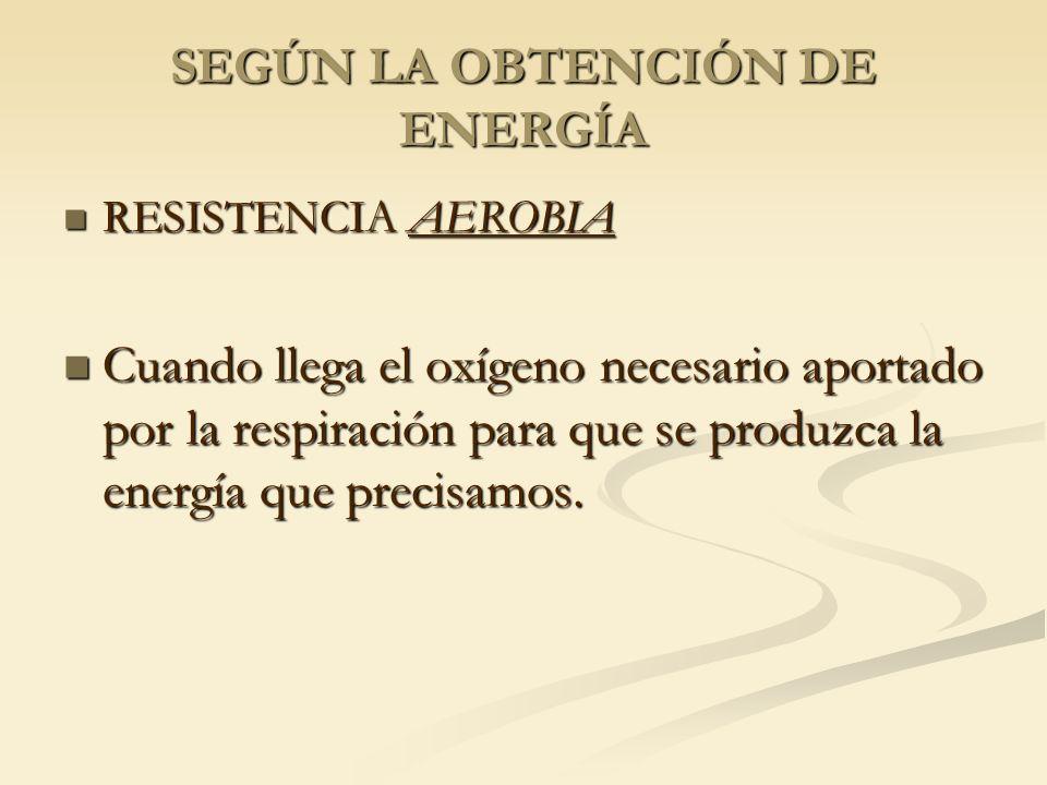 SEGÚN LA OBTENCIÓN DE ENERGÍA RESISTENCIA AEROBIA RESISTENCIA AEROBIA Cuando llega el oxígeno necesario aportado por la respiración para que se produz