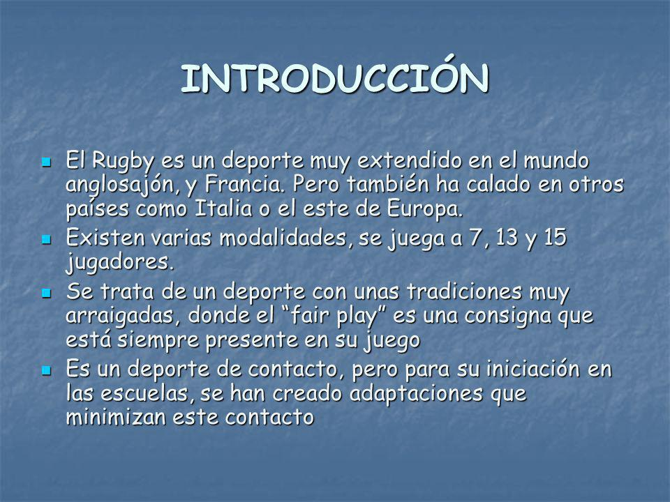 INTRODUCCIÓN El Rugby es un deporte muy extendido en el mundo anglosajón, y Francia.