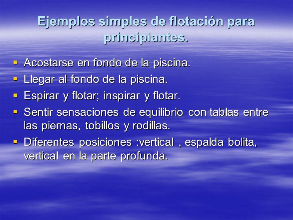 Ejemplos simples de flotación para principiantes. Acostarse en fondo de la piscina. Acostarse en fondo de la piscina. Llegar al fondo de la piscina. L