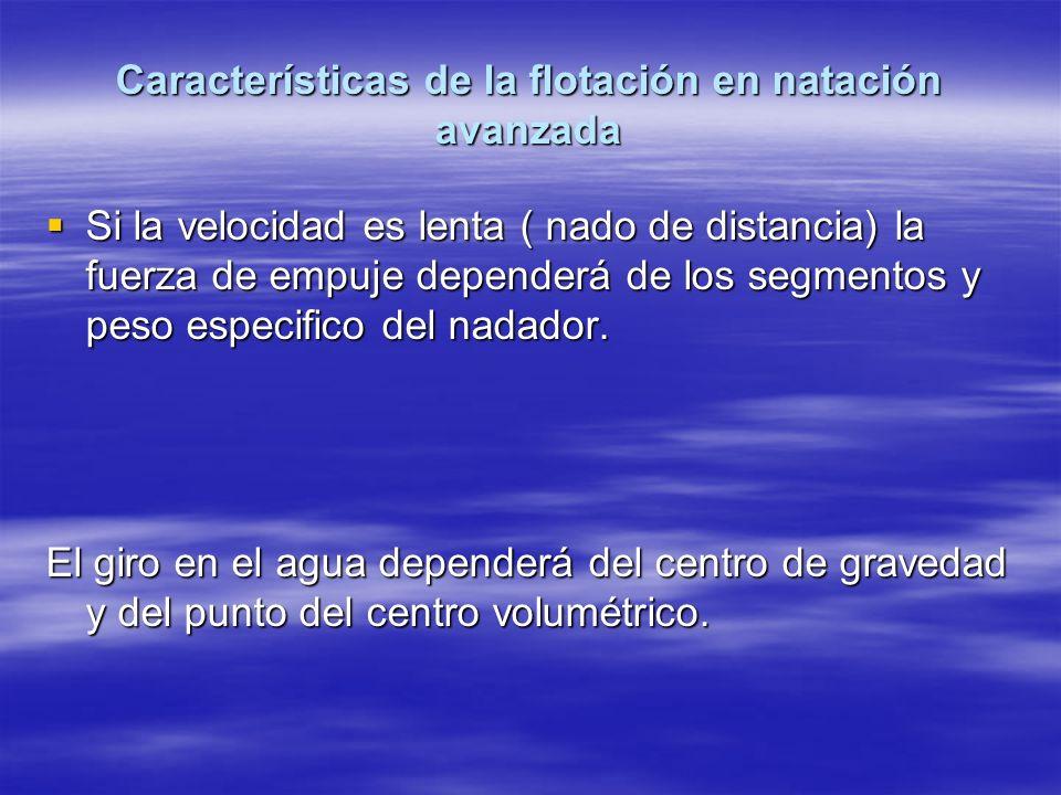 Características de la flotación en natación avanzada Si la velocidad es lenta ( nado de distancia) la fuerza de empuje dependerá de los segmentos y pe