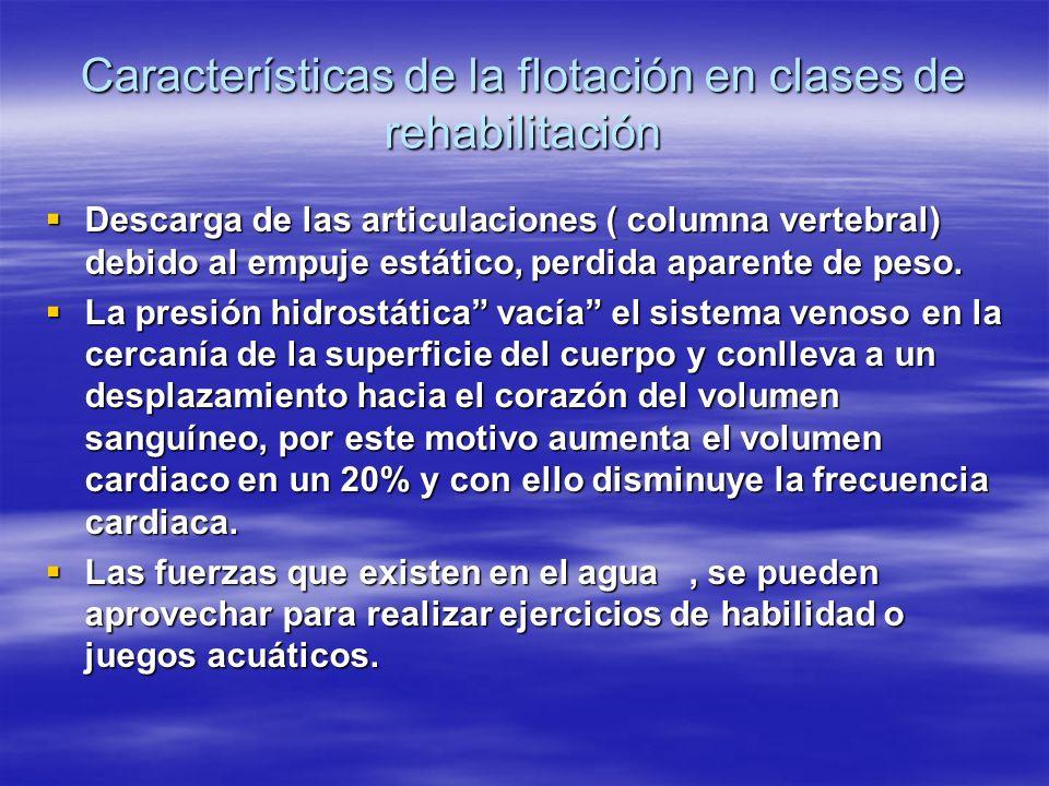 Características de la flotación en clases de rehabilitación Descarga de las articulaciones ( columna vertebral) debido al empuje estático, perdida apa