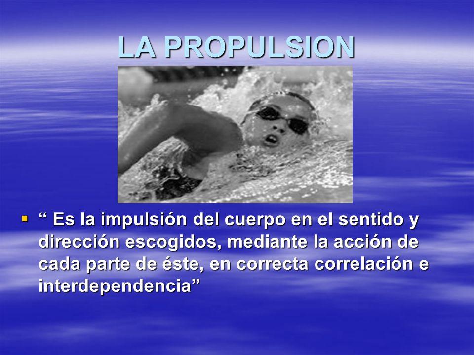 LA PROPULSION Es la impulsión del cuerpo en el sentido y dirección escogidos, mediante la acción de cada parte de éste, en correcta correlación e inte