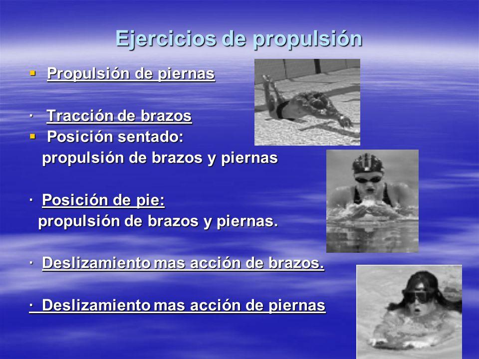 Ejercicios de propulsión Propulsión de piernas Propulsión de piernas · Tracción de brazos Posición sentado: Posición sentado: propulsión de brazos y p