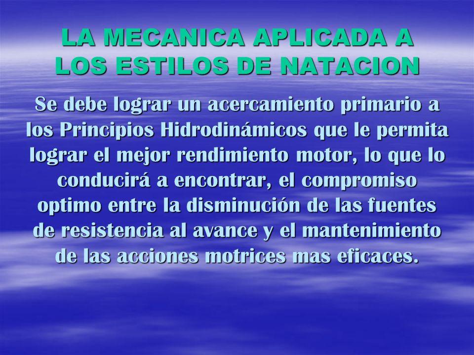 LA MECANICA APLICADA A LOS ESTILOS DE NATACION Se debe lograr un acercamiento primario a los Principios Hidrodinámicos que le permita lograr el mejor