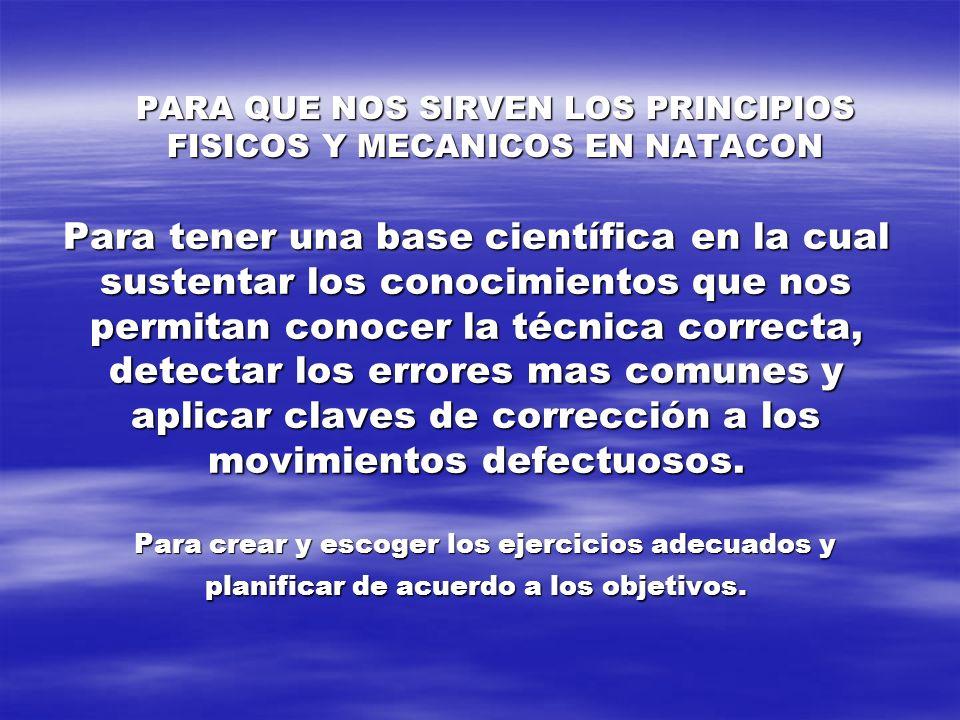 PARA QUE NOS SIRVEN LOS PRINCIPIOS FISICOS Y MECANICOS EN NATACON Para tener una base científica en la cual sustentar los conocimientos que nos permit