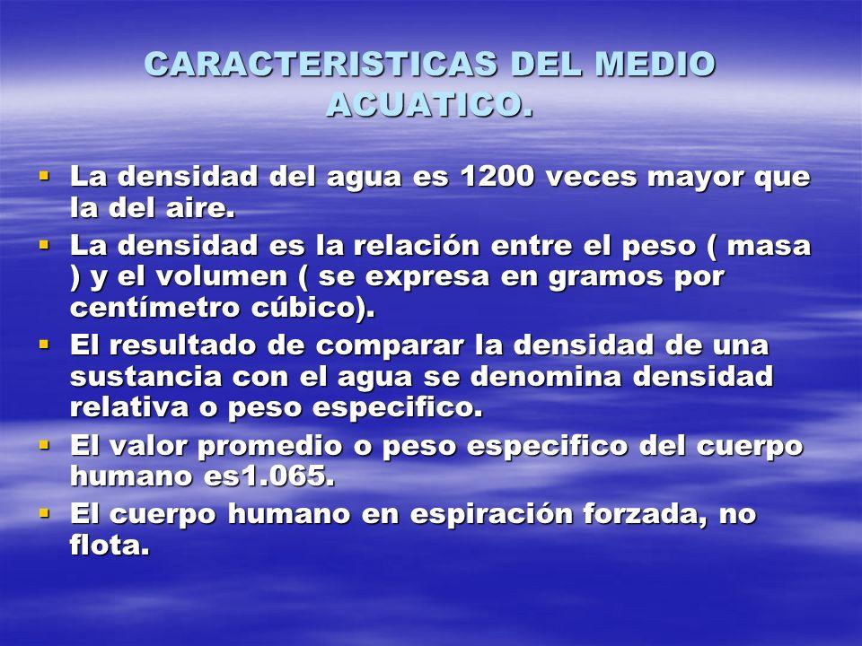 CARACTERISTICAS DEL MEDIO ACUATICO. La densidad del agua es 1200 veces mayor que la del aire. La densidad del agua es 1200 veces mayor que la del aire
