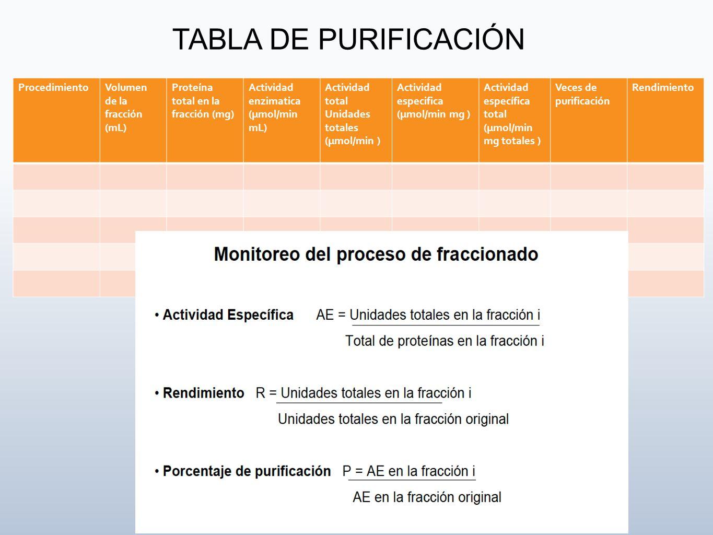 ProcedimientoVolumen de la fracción (mL) Proteína total en la fracción (mg) Actividad enzimatica (µmol/min mL) Actividad total Unidades totales (µmol/