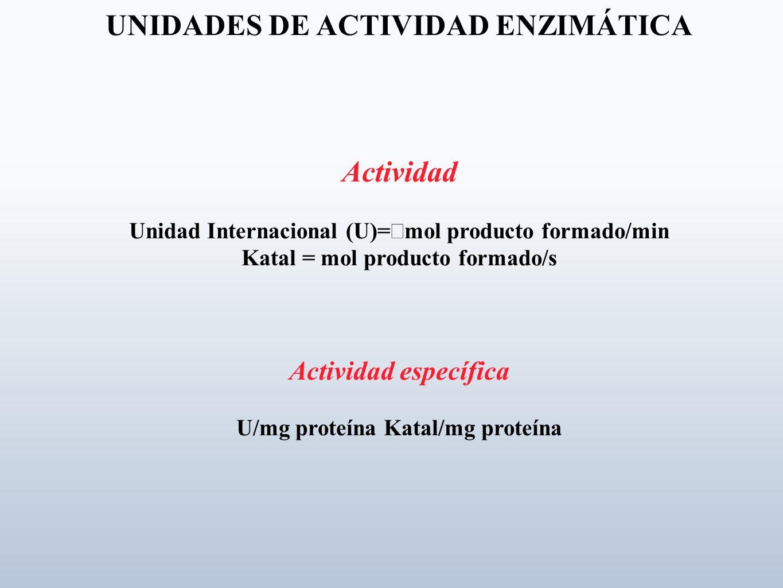 UNIDADES DE ACTIVIDAD ENZIMÁTICA Actividad Unidad Internacional (U)= mol producto formado/min Katal = mol producto formado/s Actividad específica U/mg