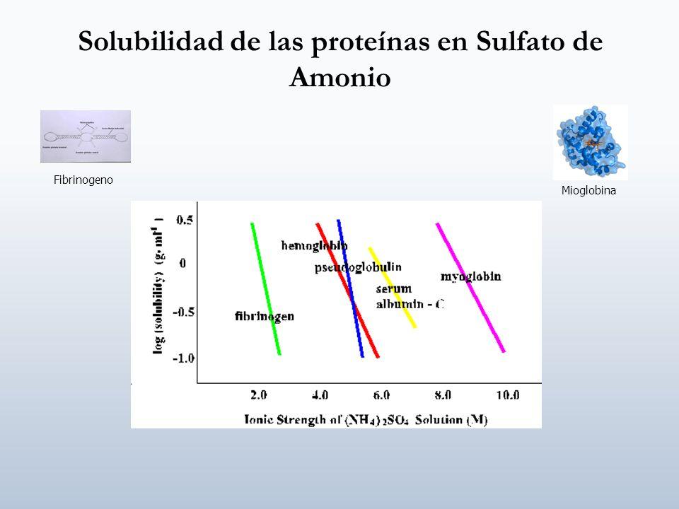 Solubilidad de las proteínas en Sulfato de Amonio Fibrinogeno Mioglobina
