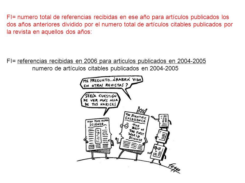 FI= numero total de referencias recibidas en ese año para artículos publicados los dos años anteriores dividido por el numero total de artículos citab