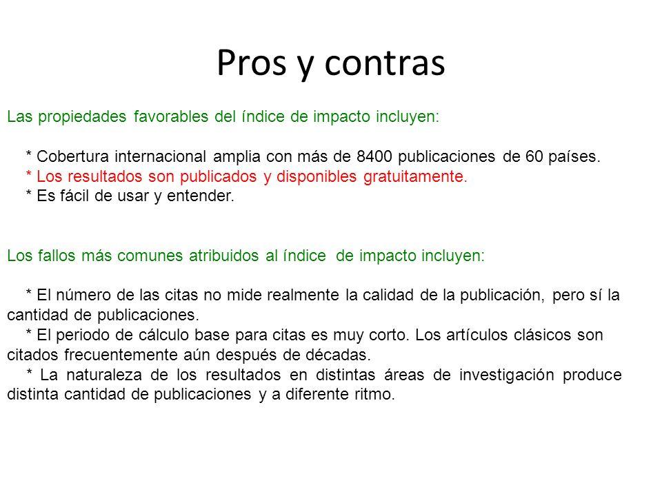 Pros y contras Las propiedades favorables del índice de impacto incluyen: * Cobertura internacional amplia con más de 8400 publicaciones de 60 países.