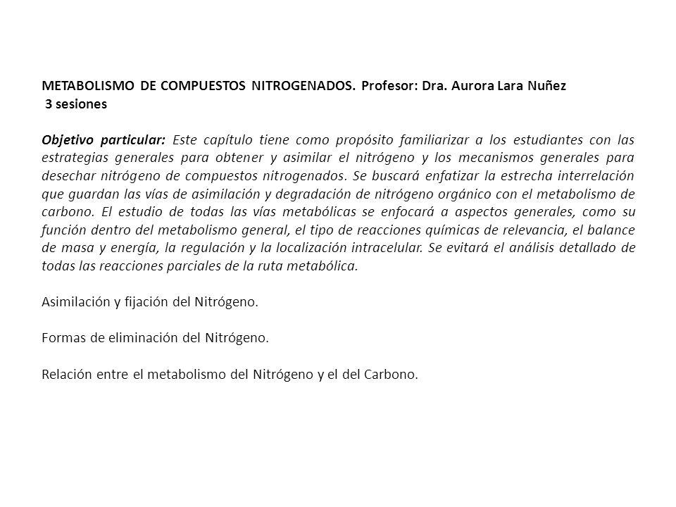METABOLISMO DE COMPUESTOS NITROGENADOS. Profesor: Dra. Aurora Lara Nuñez 3 sesiones Objetivo particular: Este capítulo tiene como propósito familiariz