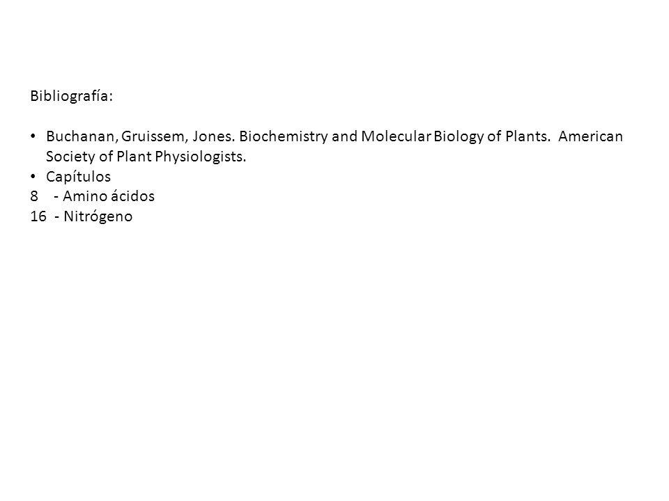 Bibliografía: Buchanan, Gruissem, Jones. Biochemistry and Molecular Biology of Plants. American Society of Plant Physiologists. Capítulos 8 - Amino ác