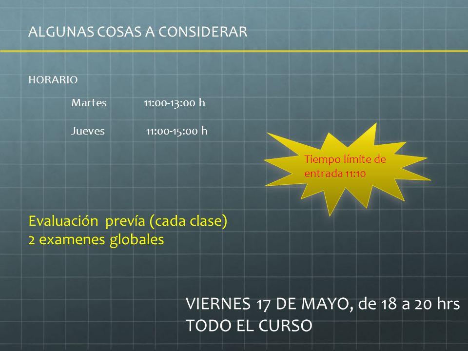ALGUNAS COSAS A CONSIDERAR HORARIO Martes 11:00-13:00 h Jueves 11:00-15:00 h Tiempo límite de entrada 11:10 Evaluación prevía (cada clase) 2 examenes