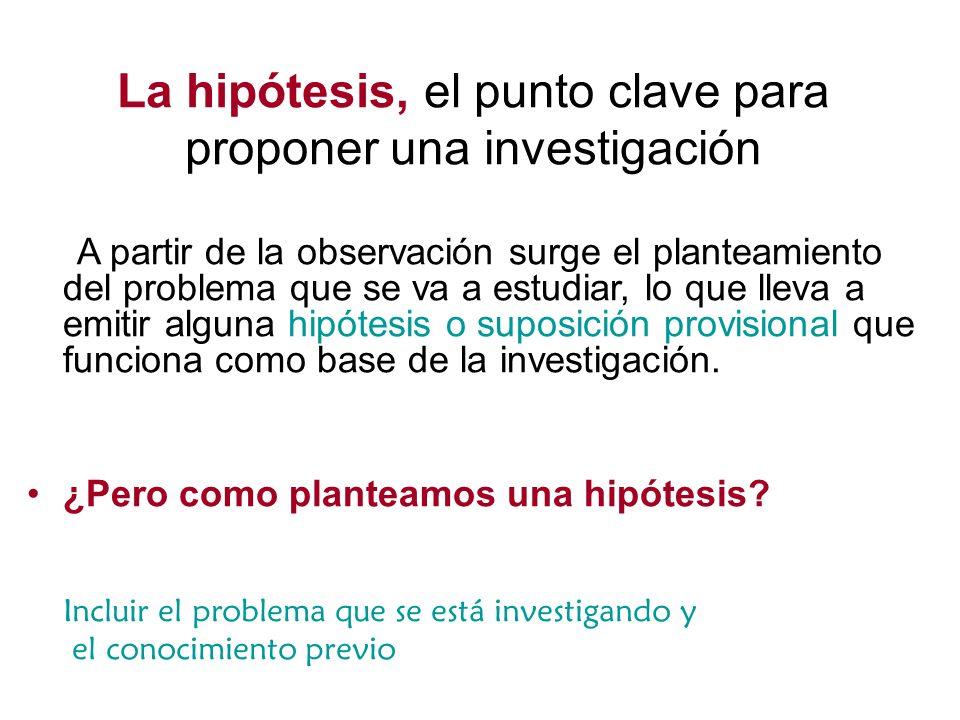 La hipótesis, el punto clave para proponer una investigación A partir de la observación surge el planteamiento del problema que se va a estudiar, lo q