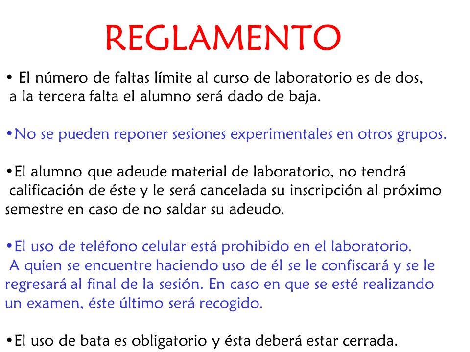 REGLAMENTO El número de faltas límite al curso de laboratorio es de dos, a la tercera falta el alumno será dado de baja. No se pueden reponer sesiones