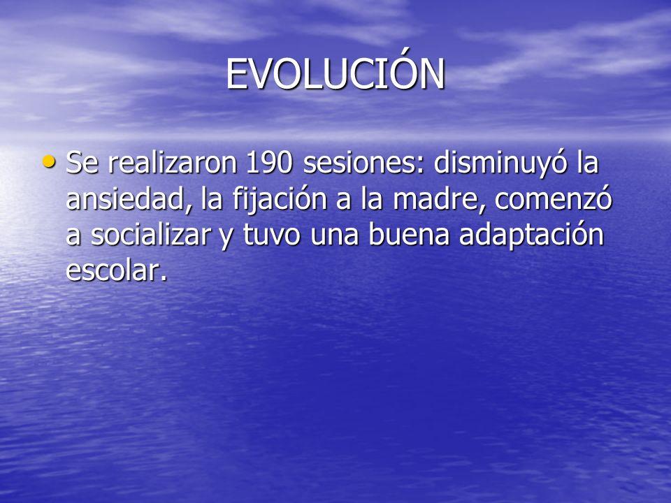 EVOLUCIÓN Se realizaron 190 sesiones: disminuyó la ansiedad, la fijación a la madre, comenzó a socializar y tuvo una buena adaptación escolar. Se real